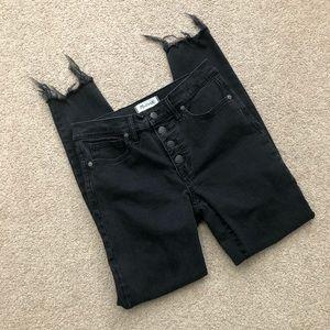 Madewell Raw Hem High Rise Skinny Black Jeans